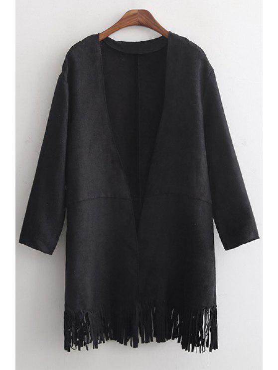 womens Tassels Solid Color Suede Coat - BLACK S