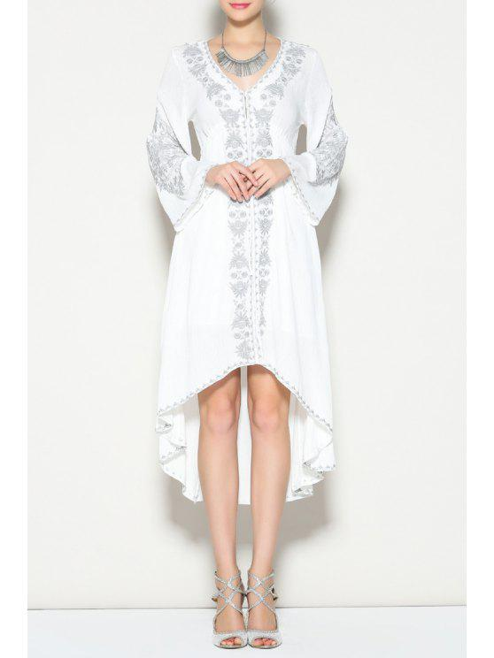 best Bell Sleeve Embroidered High Low Dress - WHITE S