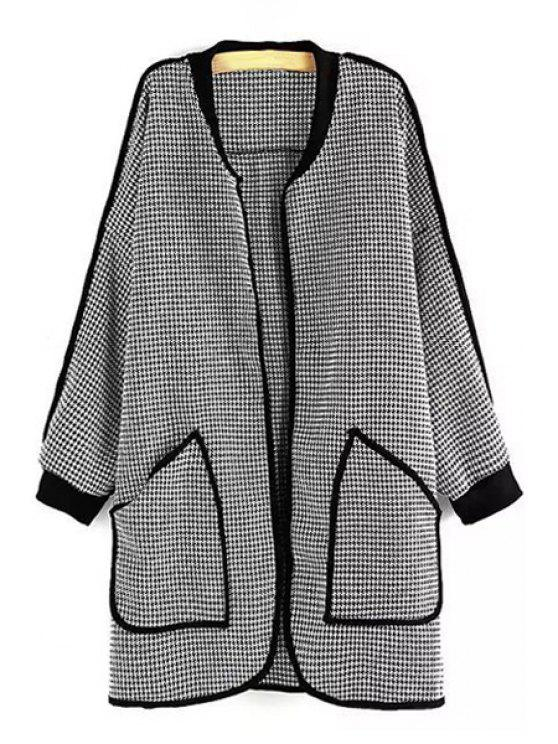 shops Open Front Loose Houndstooth Coat - WHITE AND BLACK M
