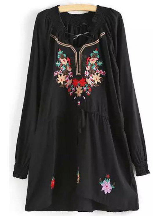 latest Long Sleeve Embroidered Tunic Dress - BLACK M