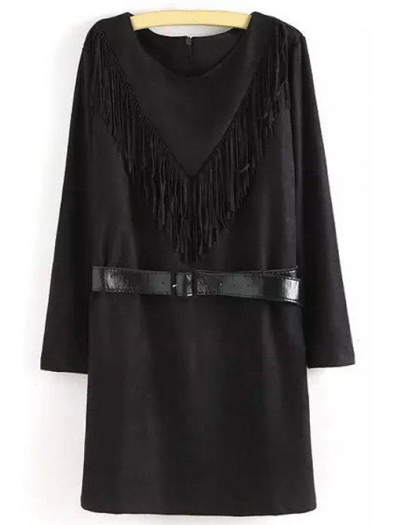 outfit Tassels Spliced Belted Suede Dress - BLACK M