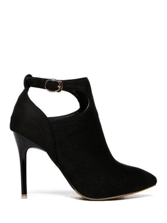 shops Suede Buckle Solid Color Ankle Boots - BLACK 34