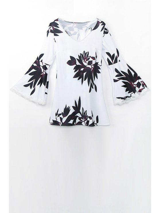 fashion Bell Sleeve Floral Print Dress - WHITE L