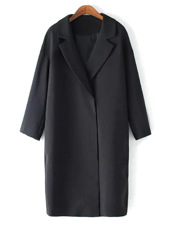 sale Solid Color Lapel Long Sleeve Maxi Blazer - BLACK M