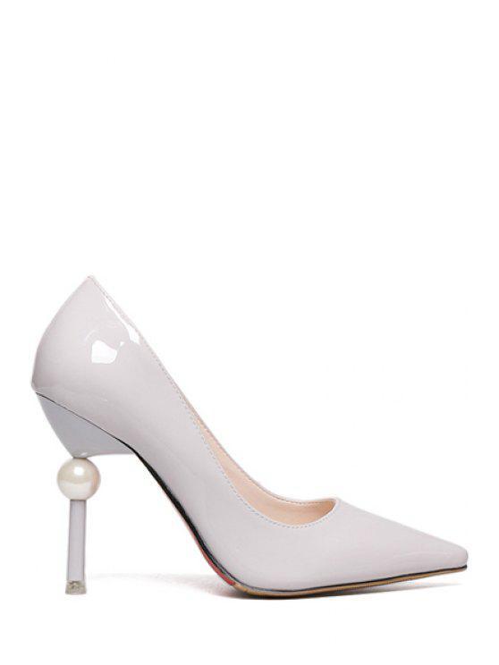 fashion Faux Pearl Stiletto Solid Color Pumps - GRAY 37