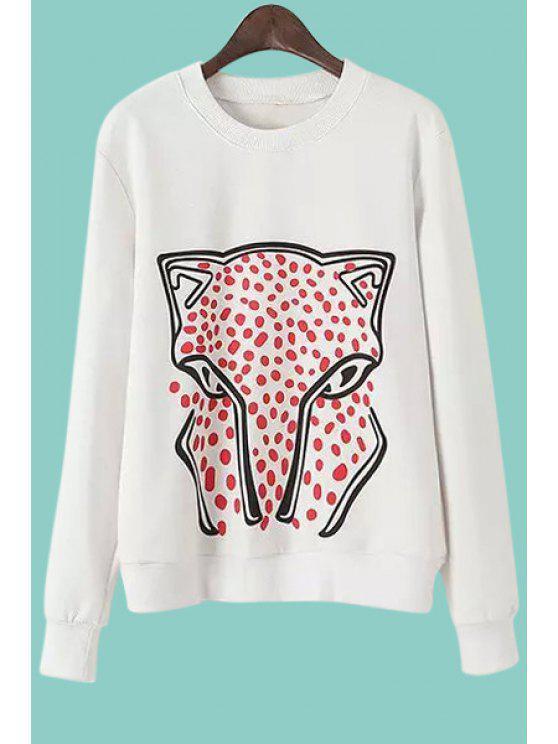shops Cartoon Animal Pattern Long Sleeves Sweatshirt - WHITE L