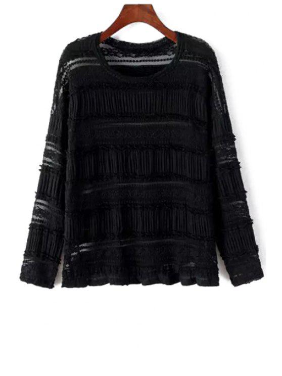 latest Hollow Out Long Sleeve Blouse - BLACK ONE SIZE(FIT SIZE XS TO M)