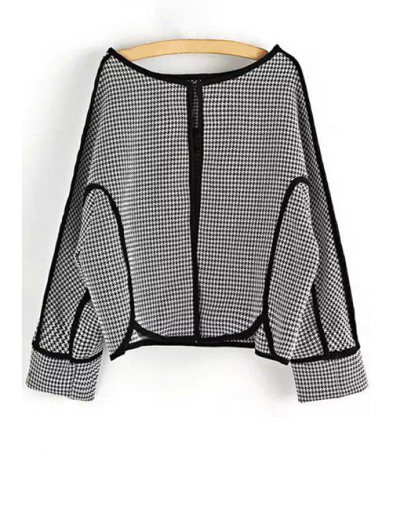 trendy Open Front Spliced Houndstooth Coat - WHITE AND BLACK M