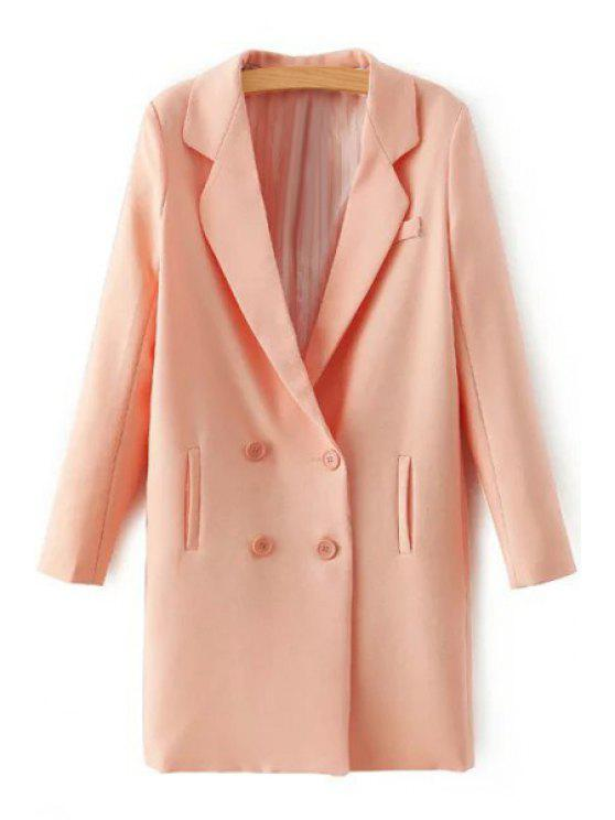 fashion Lapel Double-Breasted Longline Blazer - PINK S