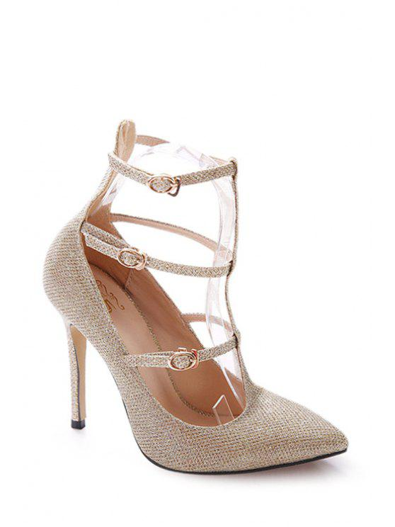 sale Bling Bling Sequined T-Strap Pumps - GOLDEN 35