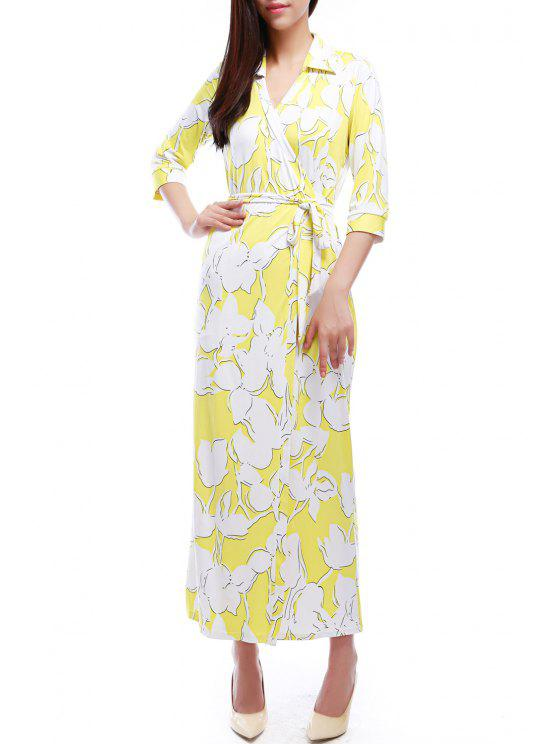 chic Floral Print V Neck 3/4 Sleeve Wrap Dress - AS THE PICTURE XS
