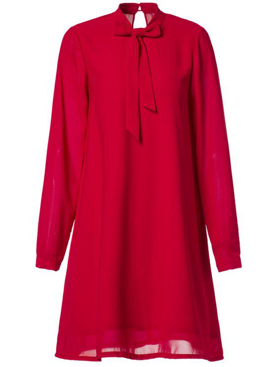 outfit Chiffon Self Tie Stand Neck Long Sleeve Dress - RED M