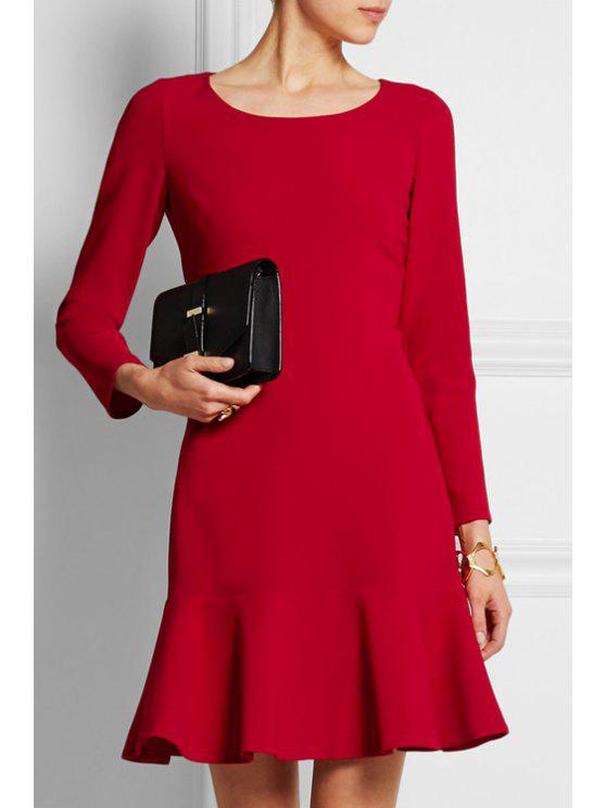 womens Red Ruffled Scoop Neck Long Sleeve Dress - RED S
