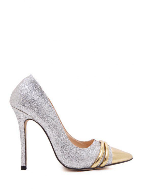 buy Metallic Toe Bling Bling Sequined Pumps - GOLDEN 35