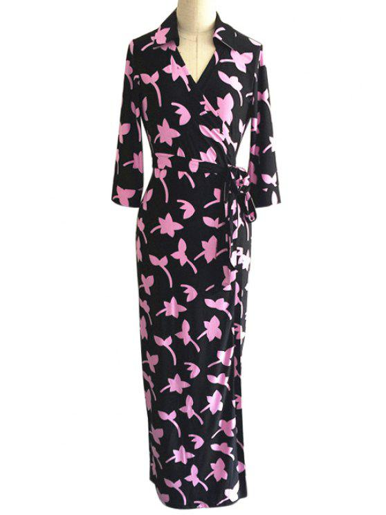 lady Full Leaf Print V Neck 3/4 Sleeve Wrap Dress - AS THE PICTURE XS