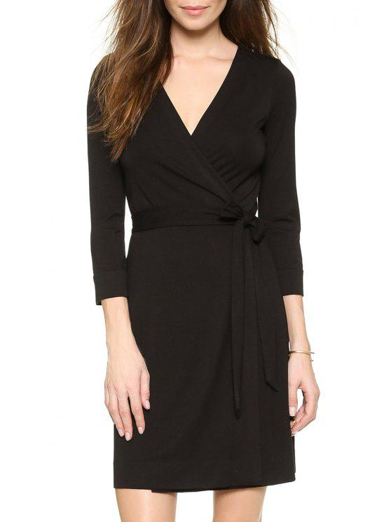 fashion Black V Neck 3/4 Sleeve Wrap Dress - BLACK S