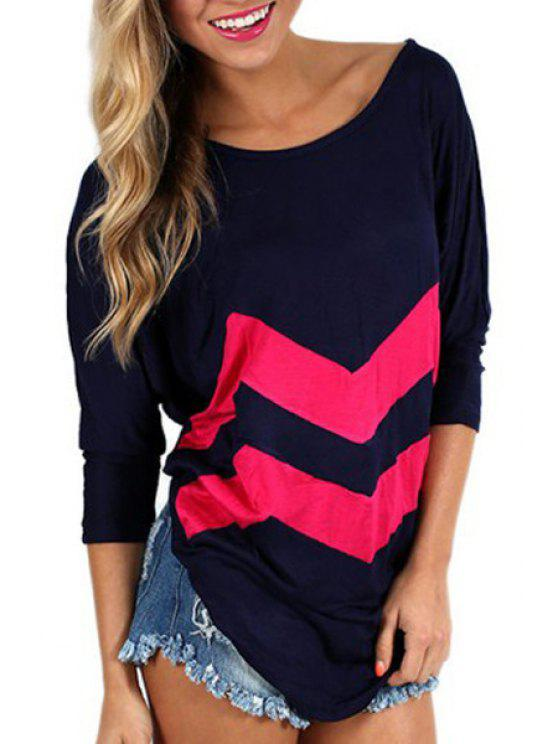 buy Zig Zag Scoop Neck Long Sleeve T-Shirt - BLACK S