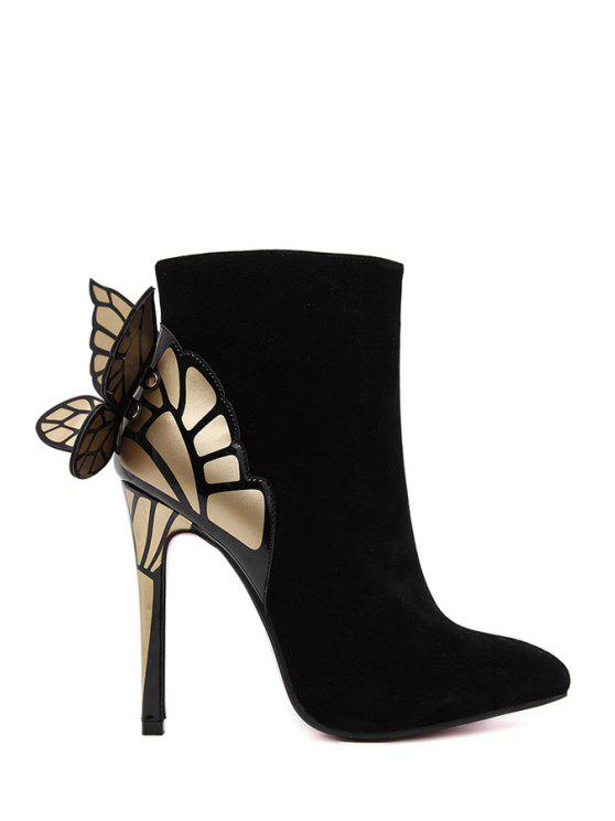fancy Butterfly Wings Color Block Suede Ankle Boots - BLACK 35