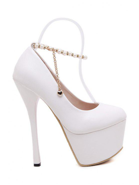 outfit Chains Beading Solid Color Pumps - WHITE 35