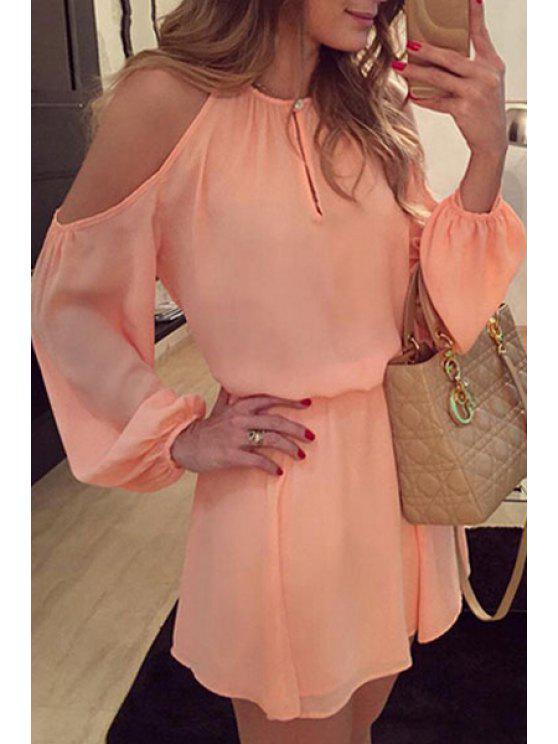 unique Off-The-Shoulder Pink Chiffon Dress - PINK S