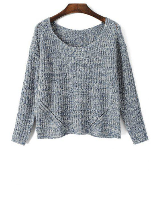 trendy Scoop Neck Color Mixed Long Sleeve Sweater - GRAY L