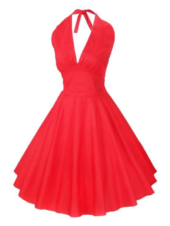 sale Solid Color Halter Flare Dress - RED M