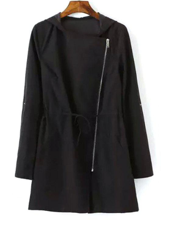latest Hooded Tie-Up Solid Color Trench Coat - BLACK S