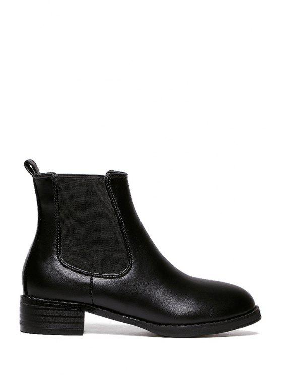 best Elastic Solid Color Round Toe Ankle Boots - BLACK 35