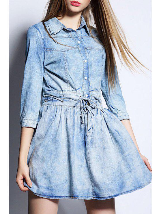 latest Denim Turn Down Collar 3/4 Sleeve Dress - BLUE S