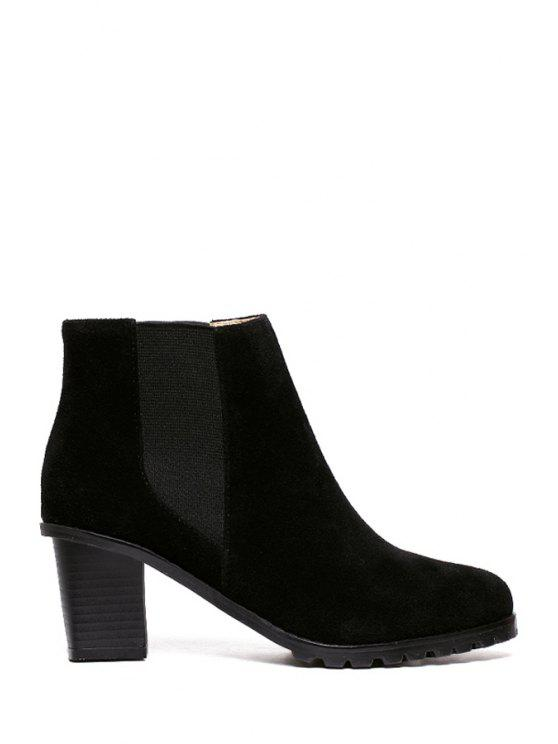 buy Elastic Suede Solid Color Ankle Boots - BLACK 38