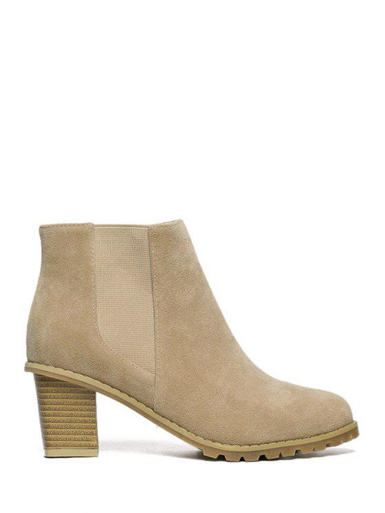 new Elastic Suede Solid Color Ankle Boots - APRICOT 38