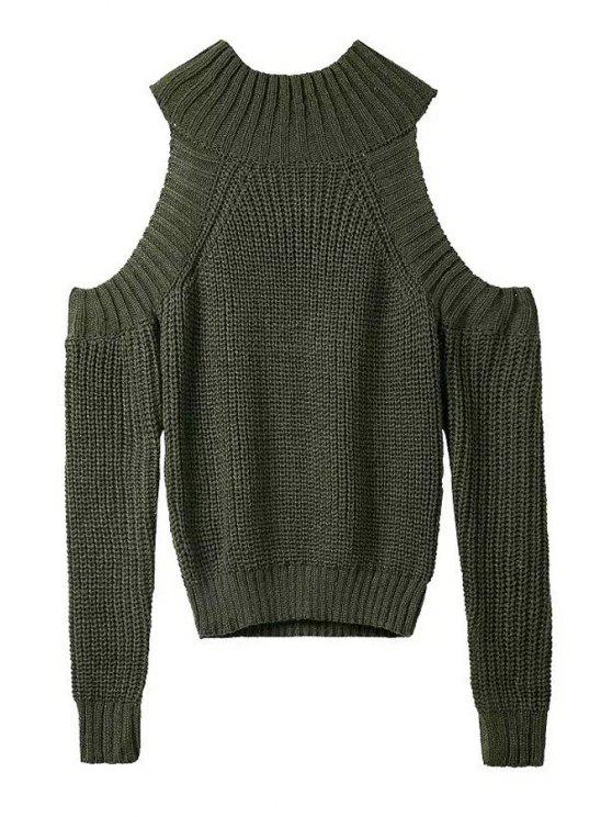 chic Round Neck Solid Color Cut Out Sweater - PEA GREEN ONE SIZE(FIT SIZE XS TO M)