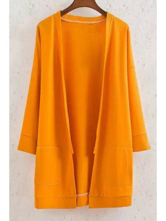 best Long Sleeve Solid Color Coat - YELLOW L