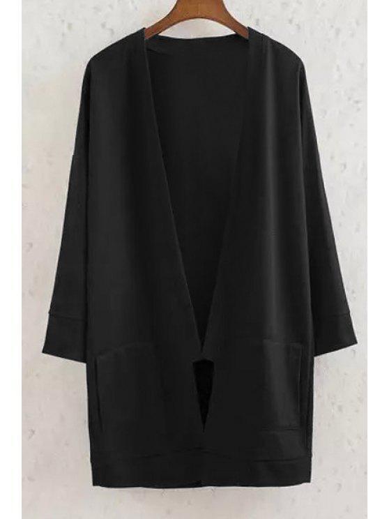 shop Long Sleeve Solid Color Coat - BLACK M