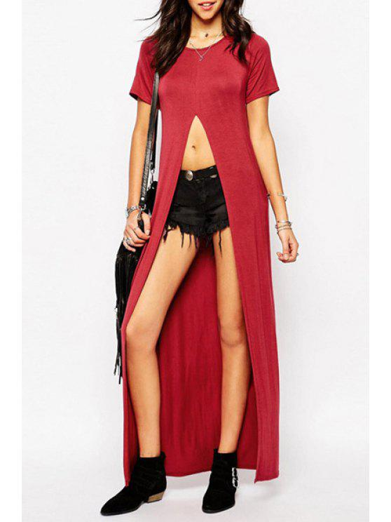 lady Front Slit Short Sleeve T-Shirt - WINE RED S