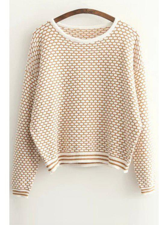 women Tiny Plaid Pattern Long Sleeve Sweater - KHAKI ONE SIZE(FIT SIZE XS TO M)