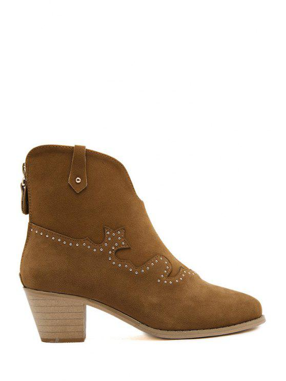 lady Rivets Suede Solid Color Ankle Boots - DEEP BROWN 37