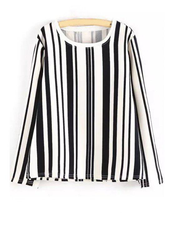 womens Scoop Neck Color Block Stripes T-Shirt - BLACK ONE SIZE(FIT SIZE XS TO M)