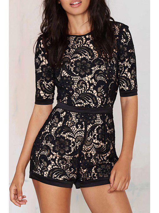 ladies Lace Round Neck Half Sleeve Romper - BLACK S