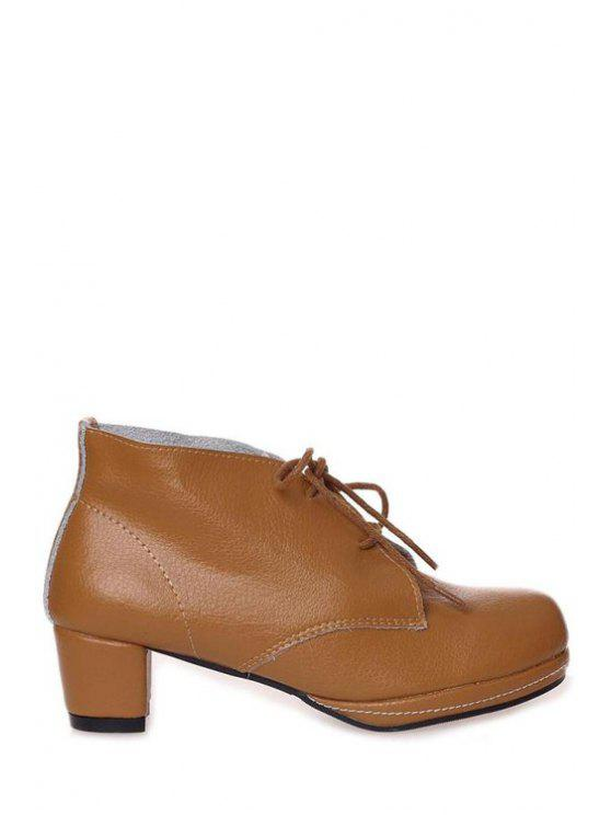 latest Lace-Up Chunky Heel Ankle Boots - BROWN 36