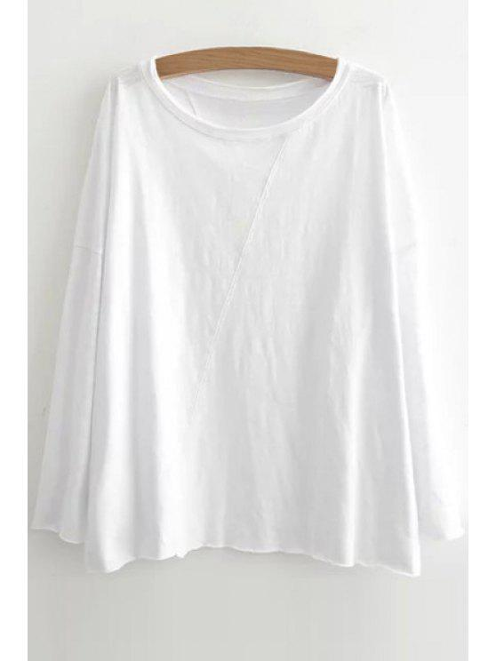women's Scoop Neck Pure Color Long Sleeve T-Shirt - WHITE ONE SIZE(FIT SIZE XS TO M)