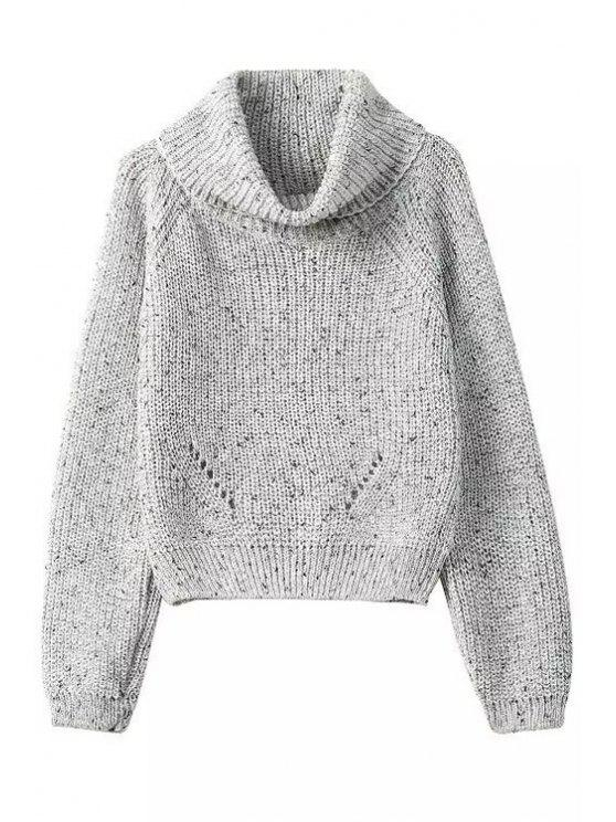 womens Turtle Neck Color Mixed Long Sleeve Sweater - GRAY ONE SIZE(FIT SIZE XS TO M)