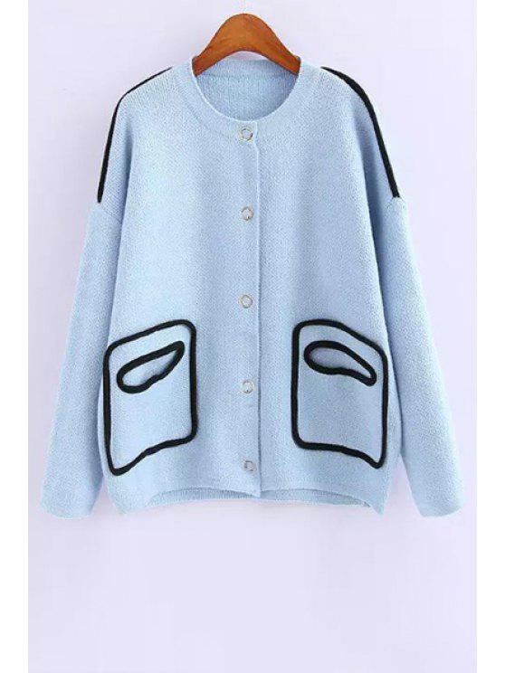 fancy Long Sleeve Single-Breasted Cardigan - AZURE ONE SIZE(FIT SIZE XS TO M)