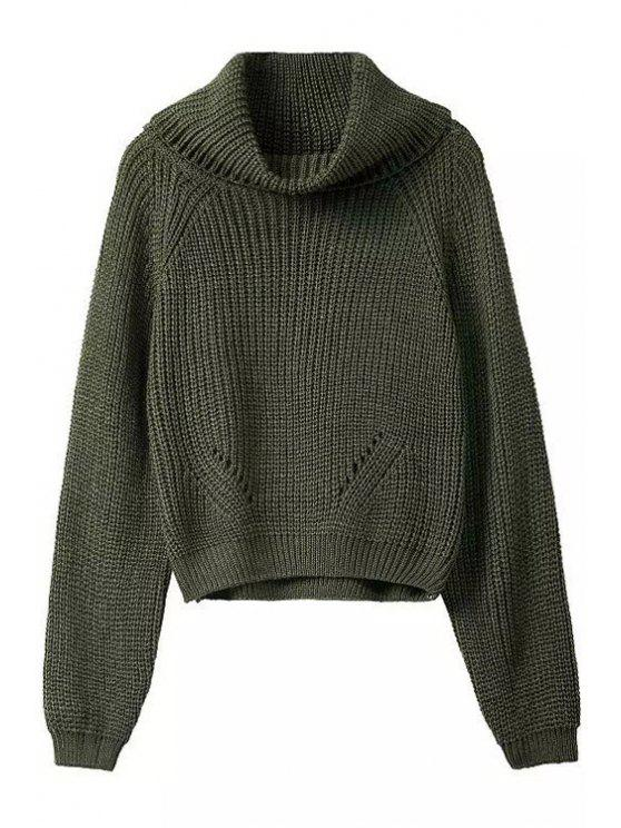 fashion Turtle Neck Pure Color Long Sleeve Sweater - BLACKISH GREEN ONE SIZE(FIT SIZE XS TO M)