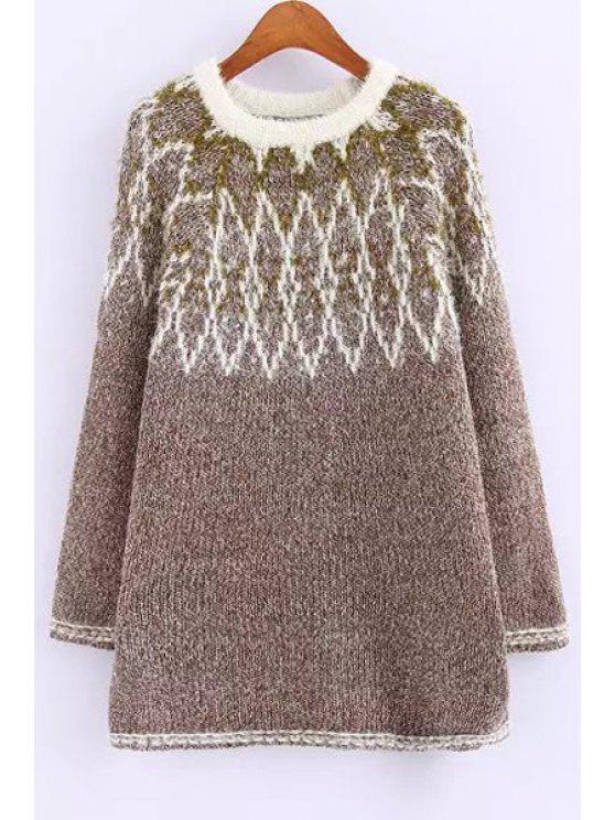 affordable Long Sleeve Jacquard Sweater - COFFEE ONE SIZE(FIT SIZE XS TO M)