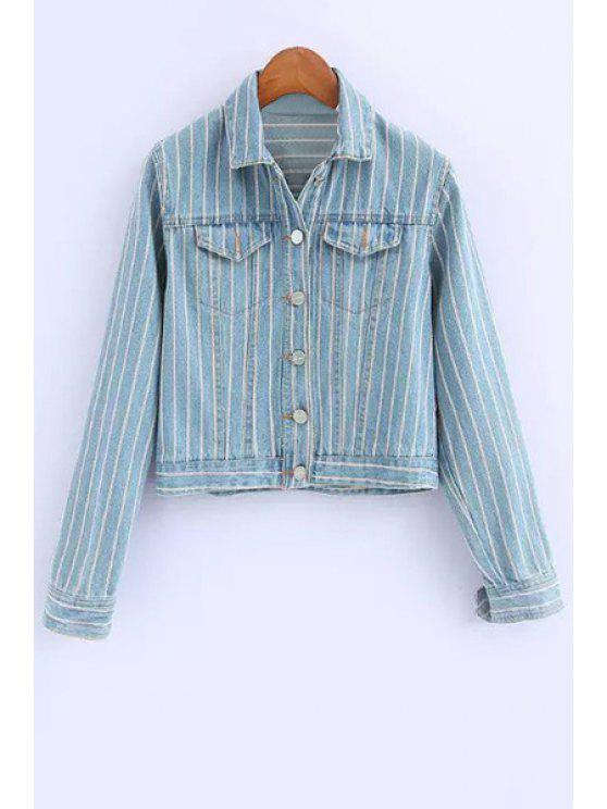 outfit Single-Breasted Striped Denim Coat - BLUE S