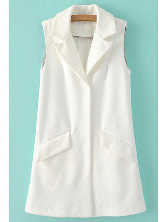 women Lapel Pure Color Sleeveless Waistcoat - WHITE S