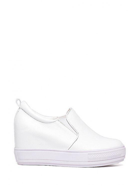 shops Elastic Solid Color Round Toe Platform Shoes - WHITE 39