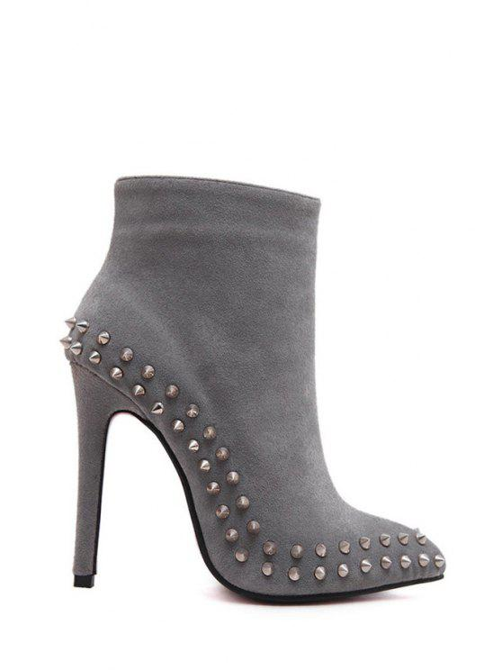 fancy Solid Color Rivets Suede Ankle Boots - GRAY 40