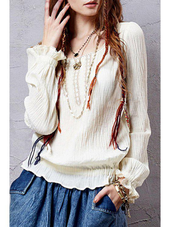 ladies Scoop Neck Solid Color Flounce Long Sleeve Blouse - OFF-WHITE L